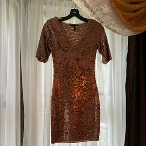 BCBG MAXAZRIA rose gold sequin dress XXS